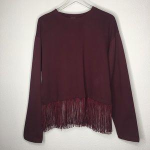 New Zara Fringe Sweatshirt